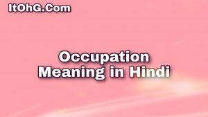 Occupation Meaning in Hindi