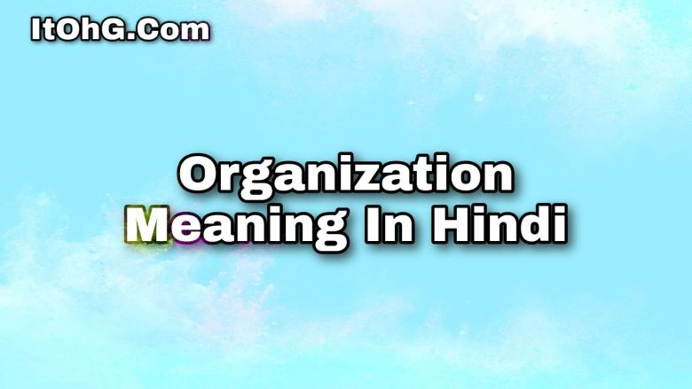 Organization Meaning In Hindi